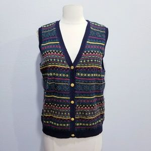 Vintage 80's retro print winter holiday vest M